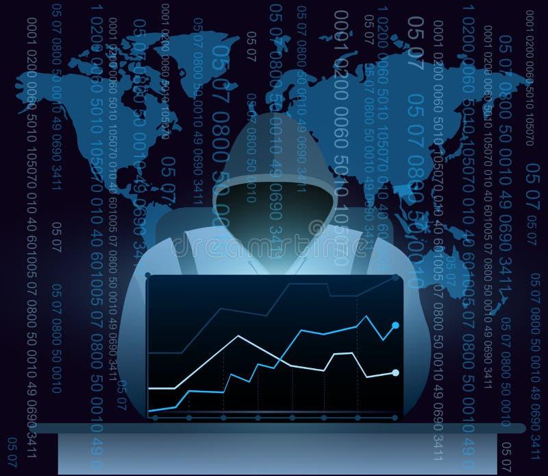 Dirigez l'illustration du pirate informatique avec l'ordinateur portable, entaillant l'Internet sur le fond de carte du monde, co illustration libre de droits
