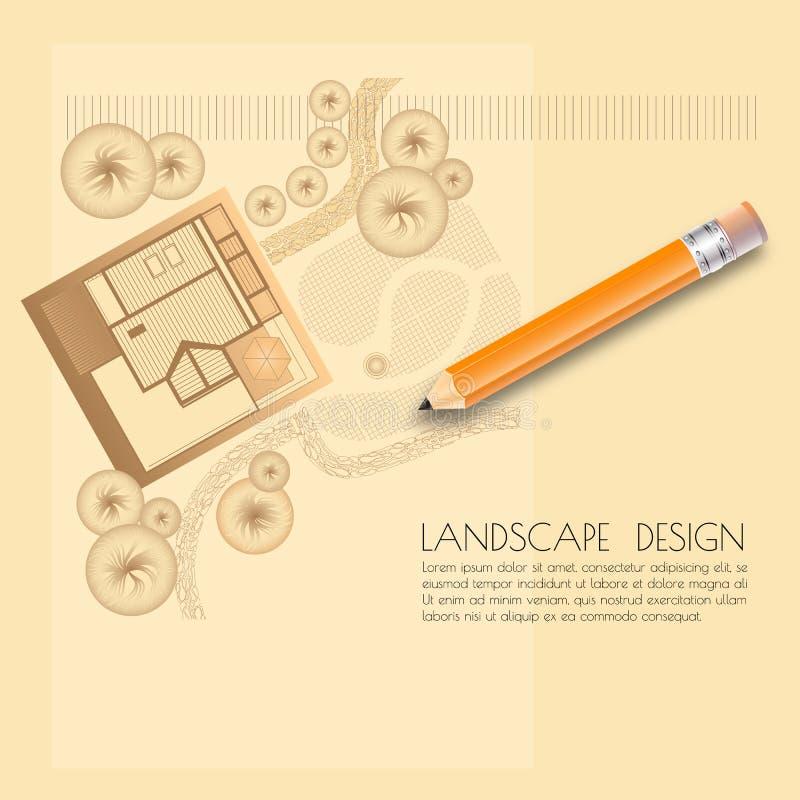 Dirigez l'illustration du plan de jardin avec des symboles d'arbre, crayon illustration stock