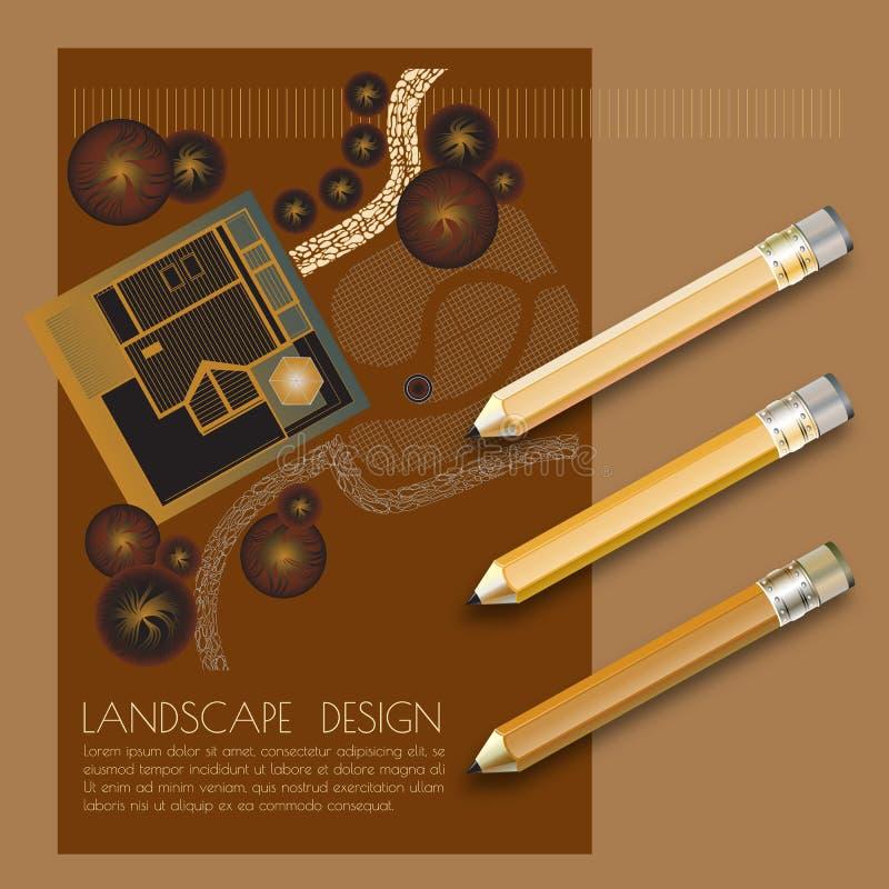 Dirigez l'illustration du plan de jardin avec des symboles d'arbre, crayons illustration libre de droits