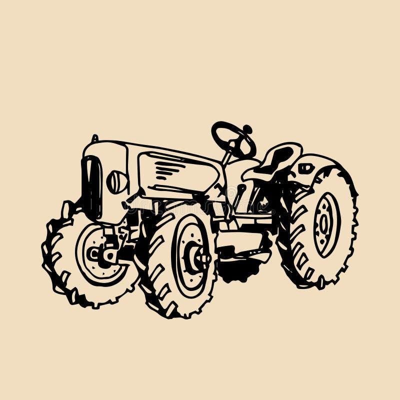Dirigez l'illustration du rétro style esquissé de tracteur à disposition Logotype frais de ferme Insigne de produits biologiques  illustration de vecteur