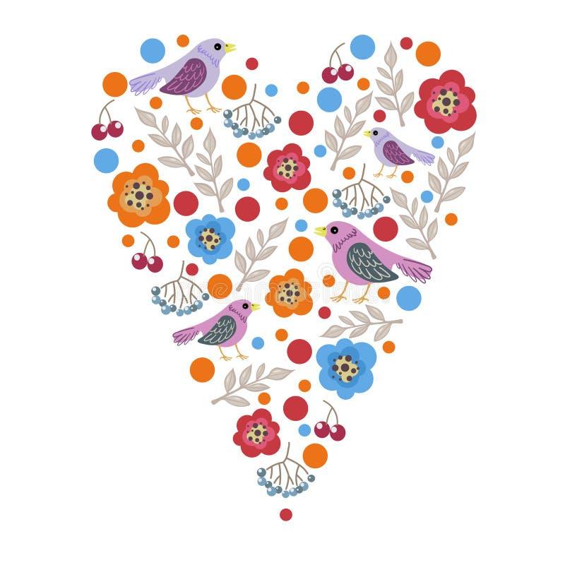 Dirigez l'illustration du ressort les coeurs des oiseaux et laissez le jour du ` s de Valentine illustration de vecteur