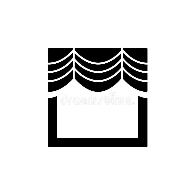 Dirigez l'illustration du rideau en fenêtre de tissu avec la draperie plat illustration de vecteur