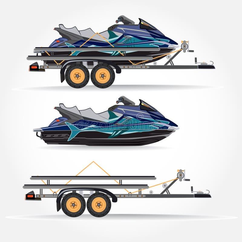 Dirigez l'illustration du scooter de l'eau et de la remorque de voiture dans le style plat illustration de vecteur