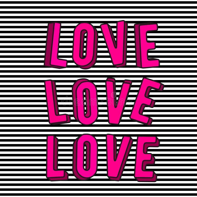 Dirigez l'illustration du signe élégant des textes de rose de l'amour 3d illustration stock