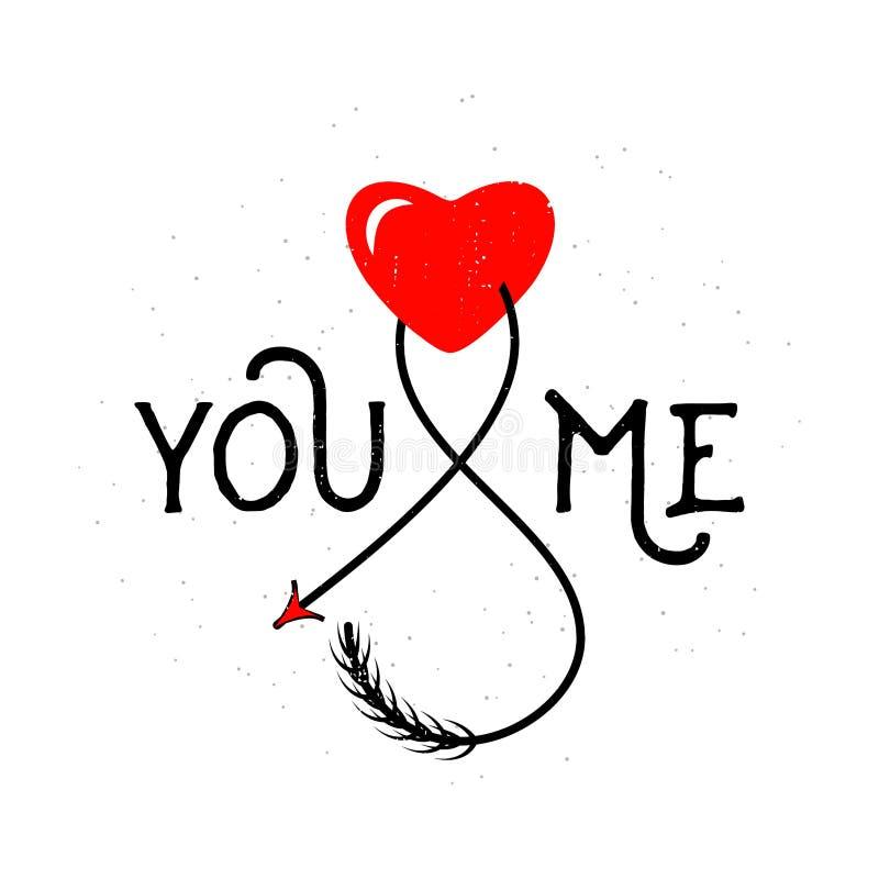 Dirigez l'illustration du signe des textes de typographie vous et moi avec le coeur illustration libre de droits
