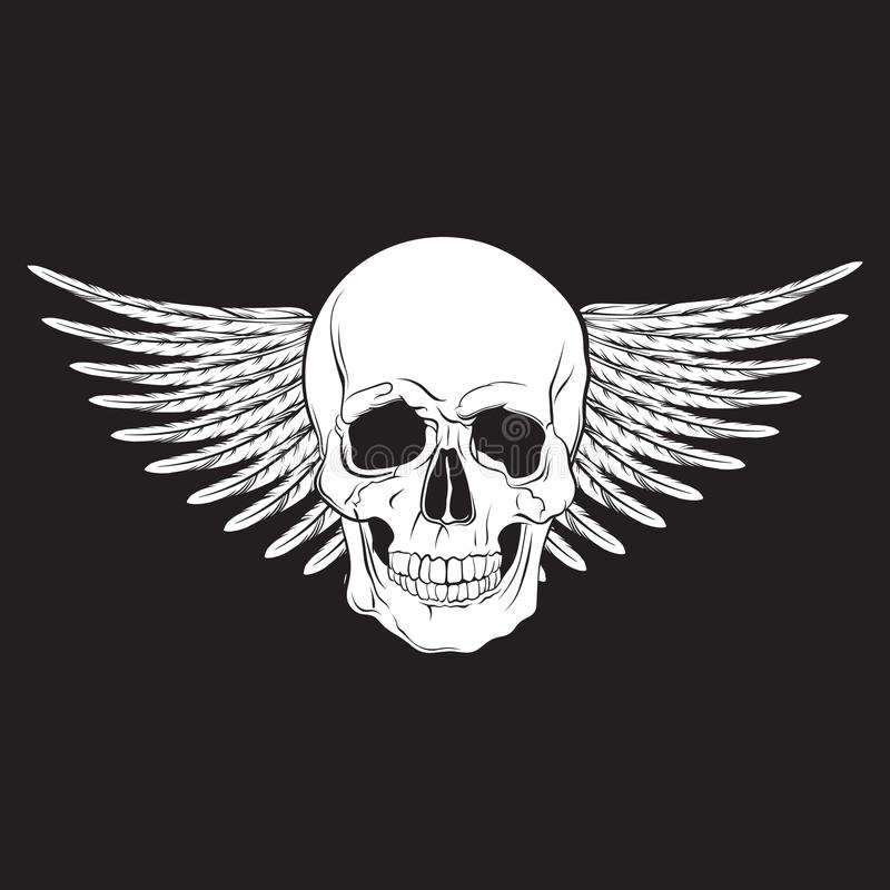 Dirigez l'illustration du skul tiré par la main humain réaliste avec des ailes illustration de vecteur