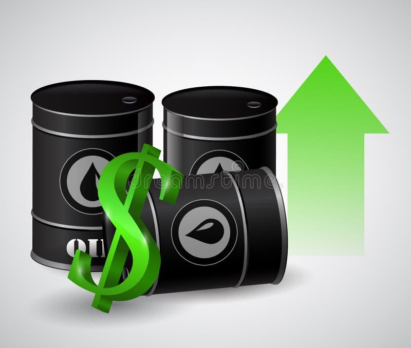 Dirigez l'illustration du tonneau à huile avec la flèche verte illustration stock