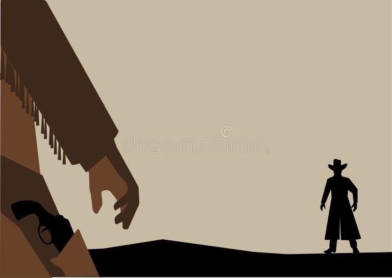 Dirigez l'illustration du vieux combat d'armes à feu ou duel occidental illustration libre de droits