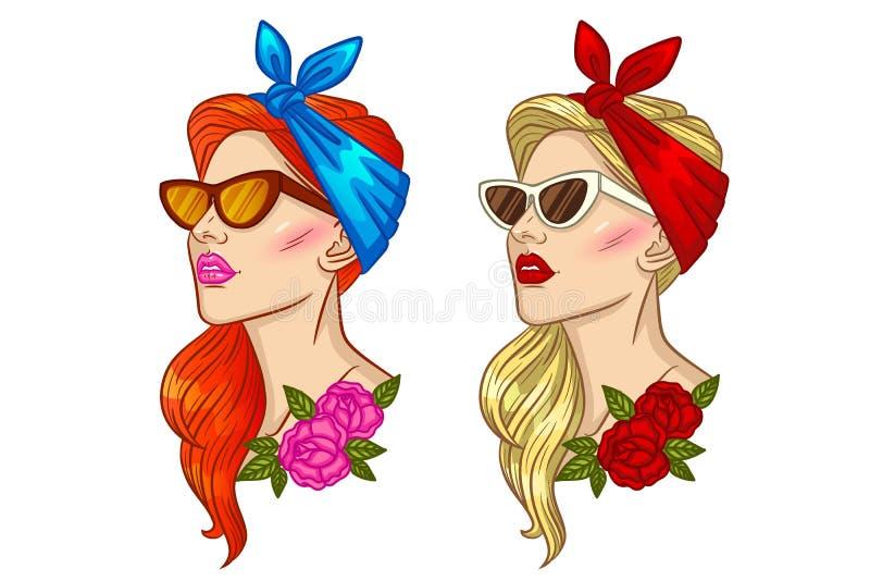 Dirigez l'illustration du visage d'une fille dans le style de goupille- illustration de vecteur