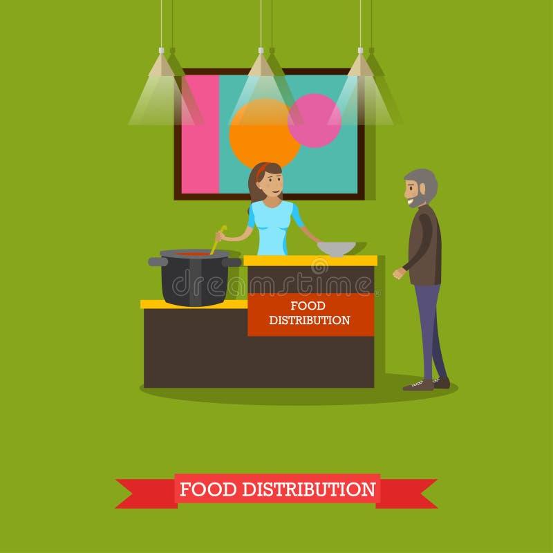 Dirigez l'illustration du volontaire aidant l'homme plus âgé avec la nourriture illustration libre de droits