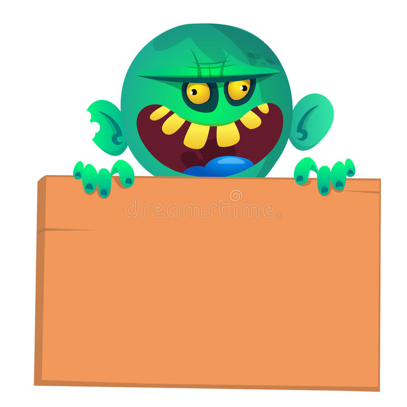Dirigez l'illustration du zombi de bande dessinée tenant le signe en bois D'isolement sur le blanc illustration libre de droits