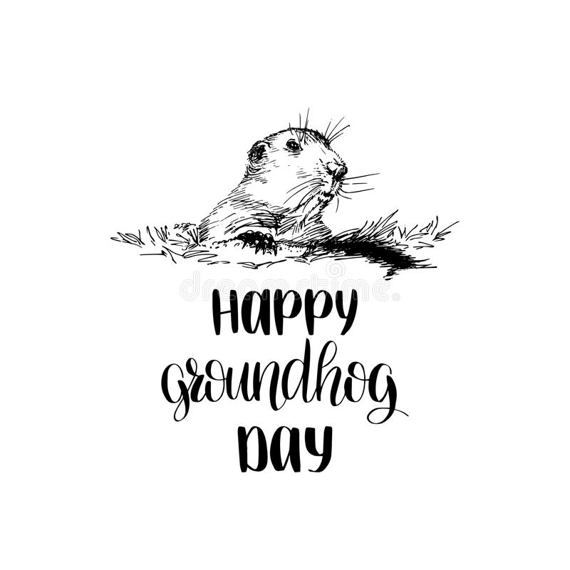 Dirigez l'illustration esquissée heureuse de jour de Groundhog avec le lettrage de main 2 février carte de voeux, affiche etc. illustration stock