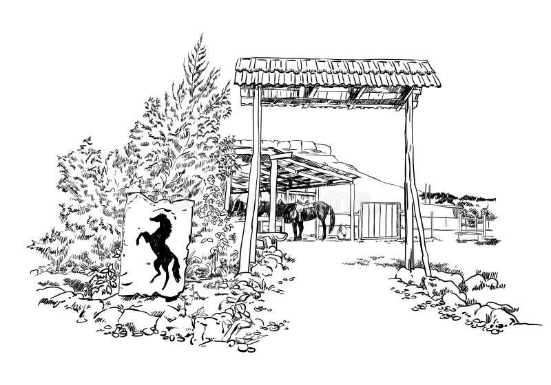Dirigez l'illustration gravée de style de croquis d'une écurie de cheval avec la silhouette d'un cheval à l'intérieur de la grang illustration libre de droits