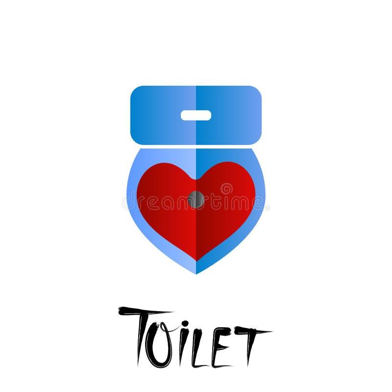 Dirigez l'illustration, icône de toilette de bande dessinée d'isolement sur le dos de blanc illustration stock