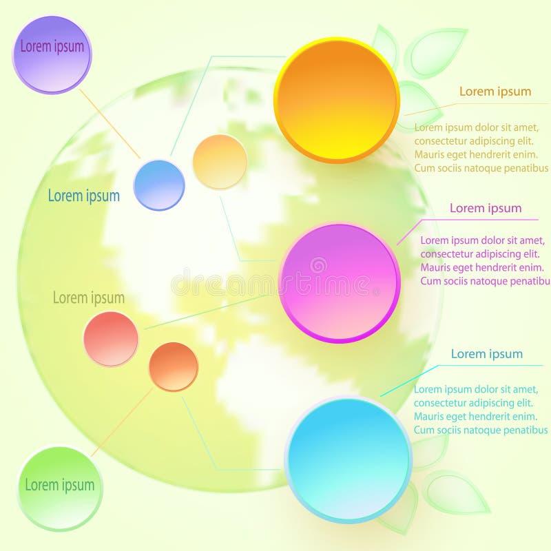 Dirigez l'illustration infographic avec les éléments et le globe ronds illustration stock