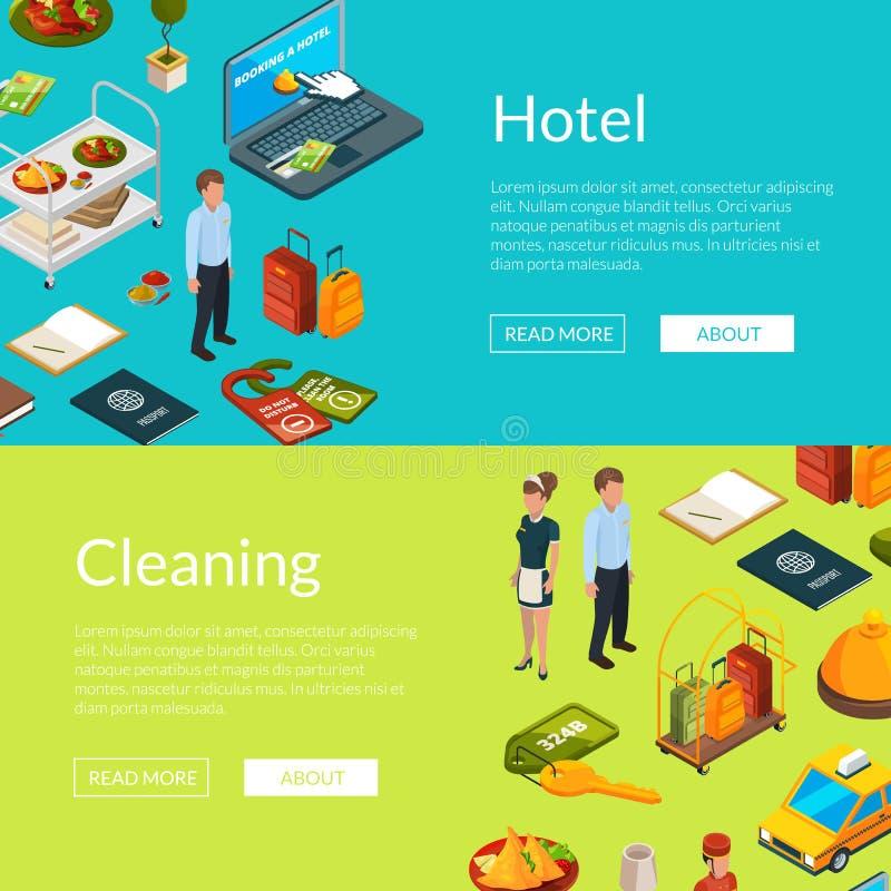 Dirigez l'illustration isométrique de calibres de bannière de Web d'icônes d'hôtel illustration libre de droits