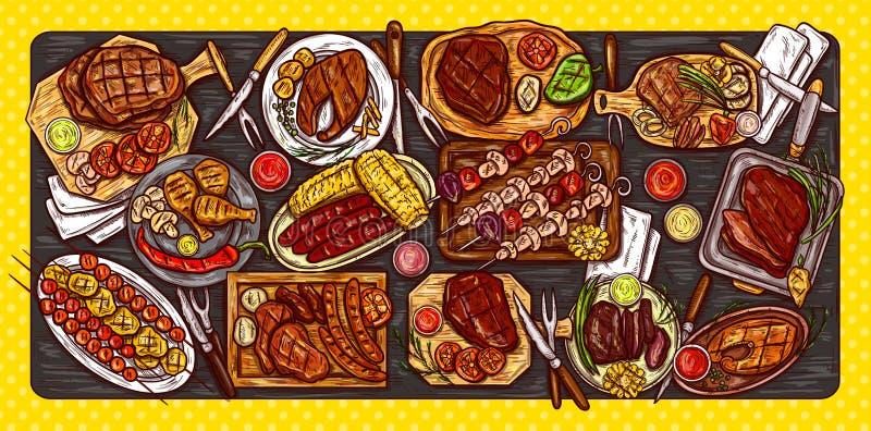 Dirigez l'illustration, la bannière culinaire, le fond de barbecue avec de la viande grillée, les saucisses, les légumes et les s illustration stock