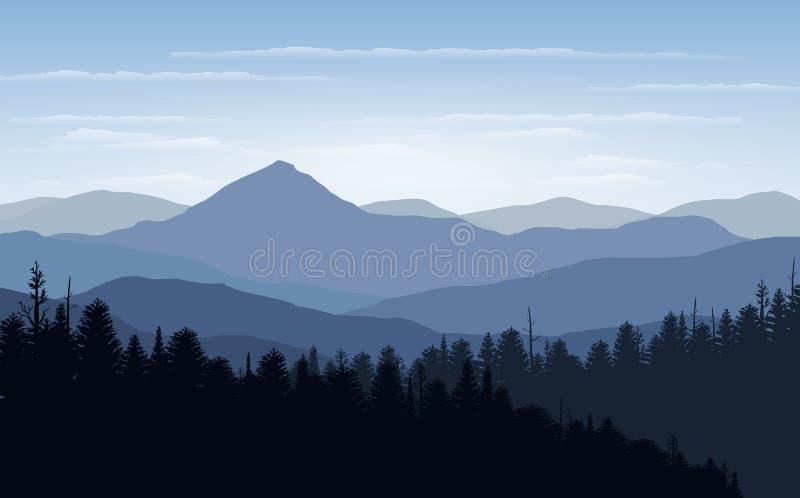 Dirigez l'illustration, la vue de paysage avec le coucher du soleil, le lever de soleil, le ciel, les nuages, les crêtes de monta