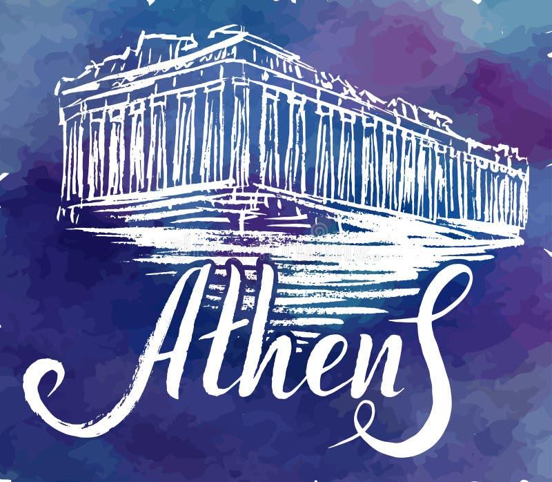 Dirigez l'illustration, label d'Athènes avec l'Acropole tirée par la main d'Athènes, marquant avec des lettres Athènes illustration stock
