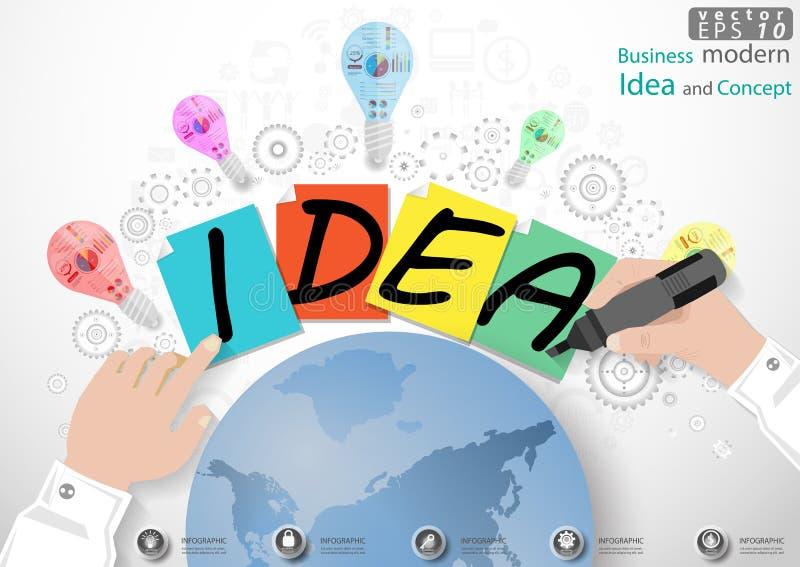 Dirigez l'illustration moderne d'idée et de concept d'affaires avec la main, stylo magique, papier, lampe, dent, monde graphisme illustration libre de droits