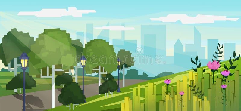 Dirigez l'illustration moderne de style de jeu de pixel du parc public de ville avec le fond de bâtiments de gratte-ciel illustration libre de droits