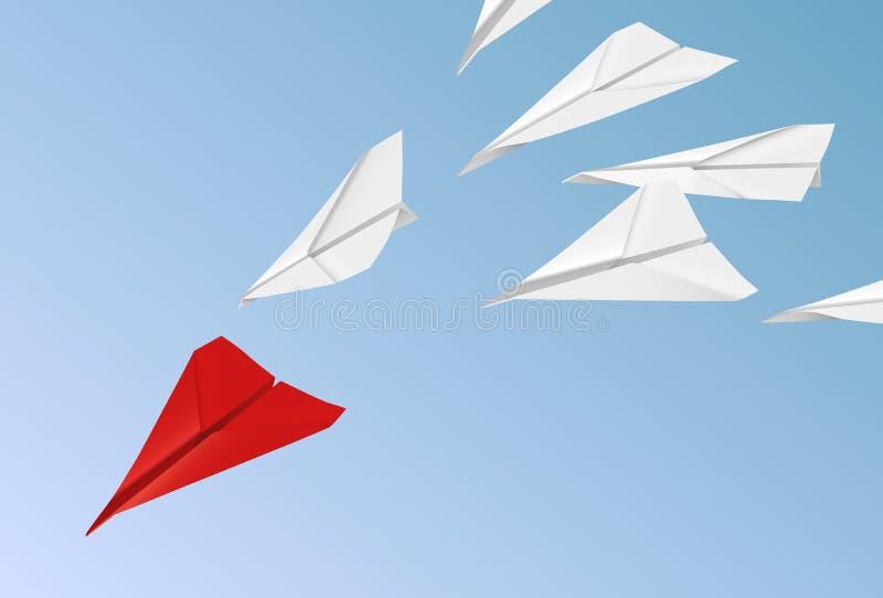 Dirigez l'illustration orientée de direction avec des avions de livre blanc suivant le rouge illustration de vecteur