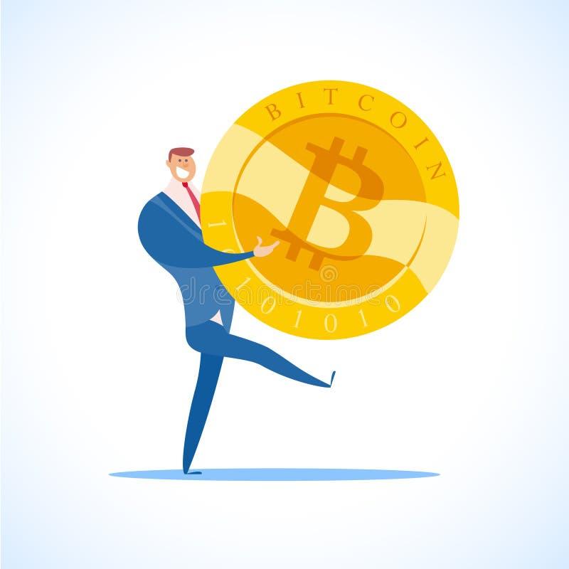 Dirigez l'illustration plate de bitcoin et d'homme d'affaires réussi sur le fond blanc illustration de vecteur