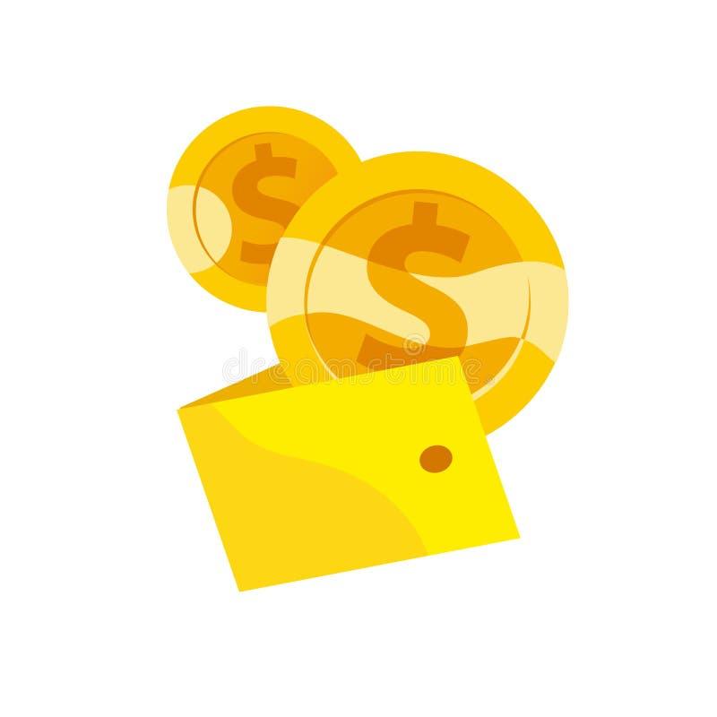 Dirigez l'illustration plate de deux pièces de monnaie d'or avec le symbole monétaire du dollar tombant dans le portefeuille jaun illustration de vecteur