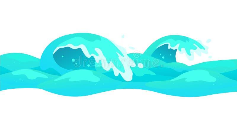 Dirigez l'illustration plate de fond des vagues d'eau d'isolement sur le fond blanc illustration de vecteur