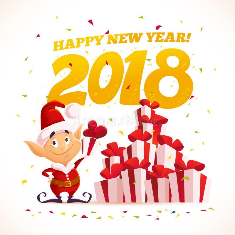 Dirigez l'illustration plate de Joyeux Noël avec l'elfe de Santa et la pile de boîte-cadeau d'isolement illustration libre de droits