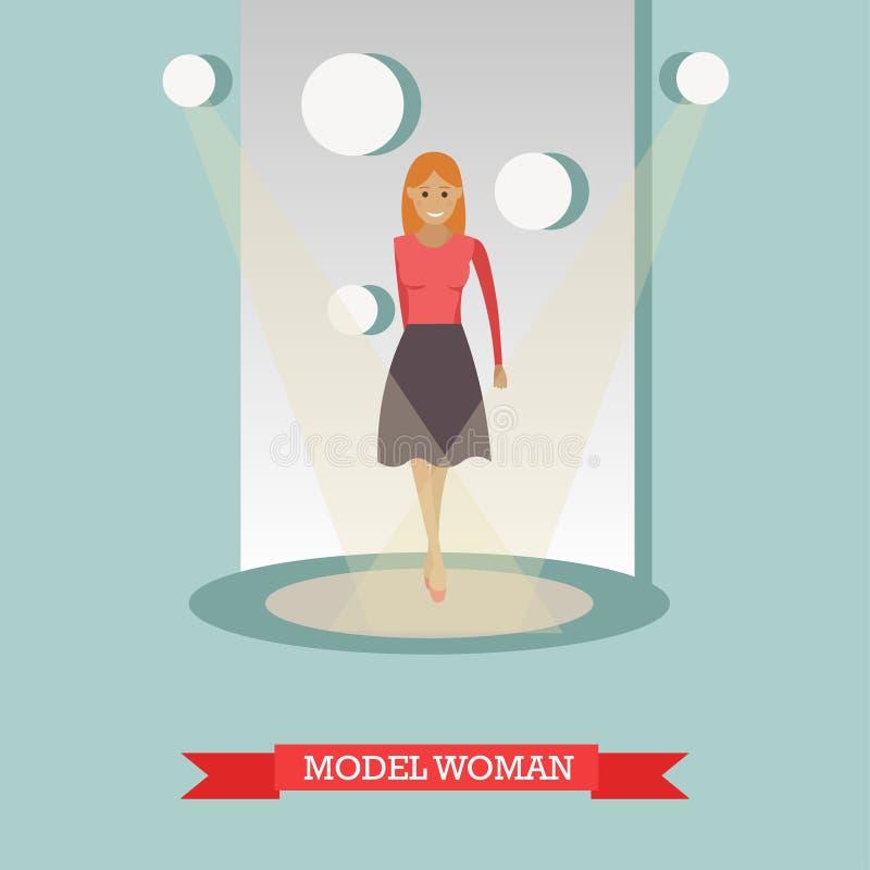 Dirigez l'illustration plate de la femme modèle dans des vêtements sport illustration stock