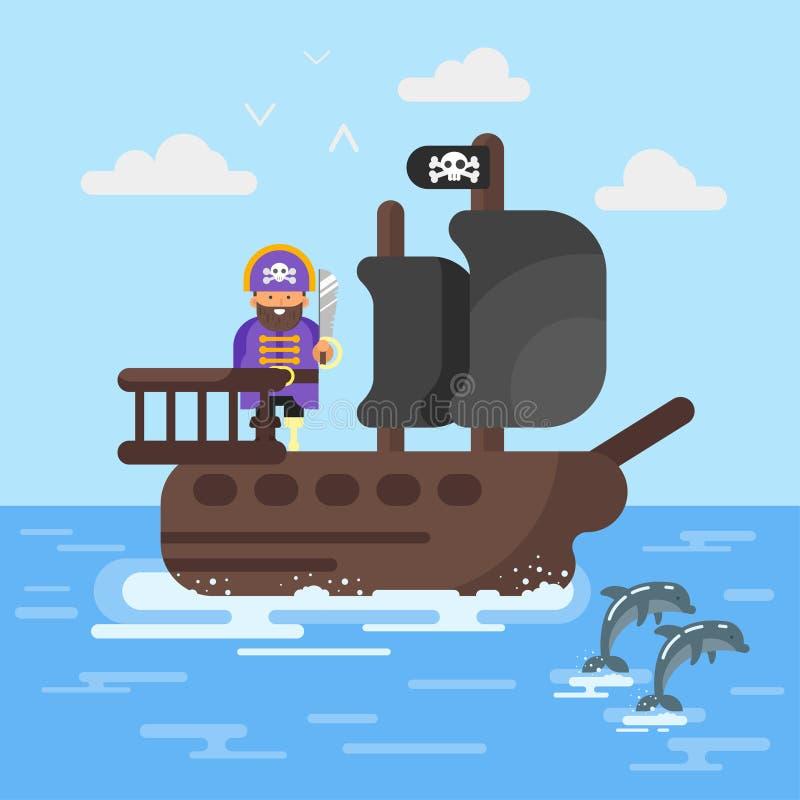 Dirigez l'illustration plate de style du bateau de pirate avec des dauphins illustration de vecteur