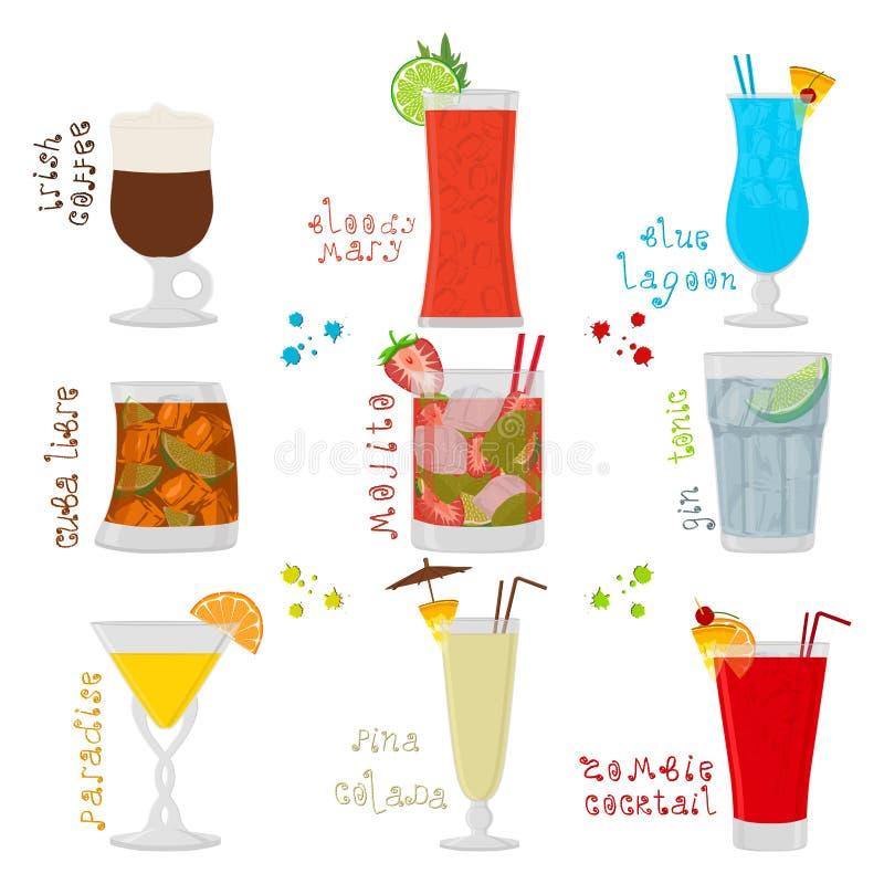 Dirigez l'illustration pour le cocktail doux d'alcool en verre illustration de vecteur