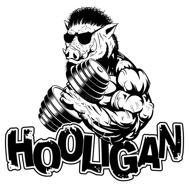 Dirigez l'illustration qu'un bodybuilder féroce fort de verrat montre un grand biceps illustration de vecteur
