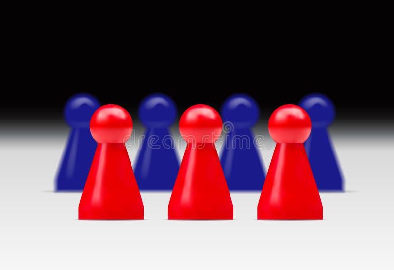 Dirigez l'illustration réaliste de deux groupes de figu rouge et bleu illustration libre de droits
