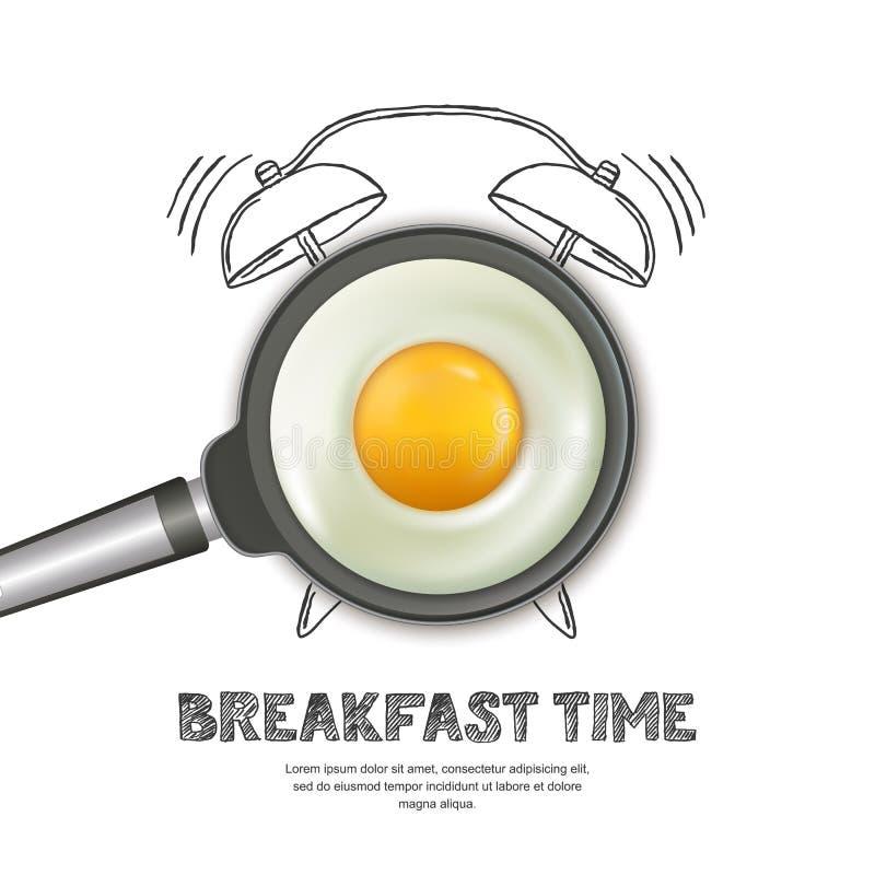 Dirigez l'illustration réaliste de la casserole avec l'oeuf au plat et le réveil tiré par la main d'isolement sur le fond blanc illustration stock