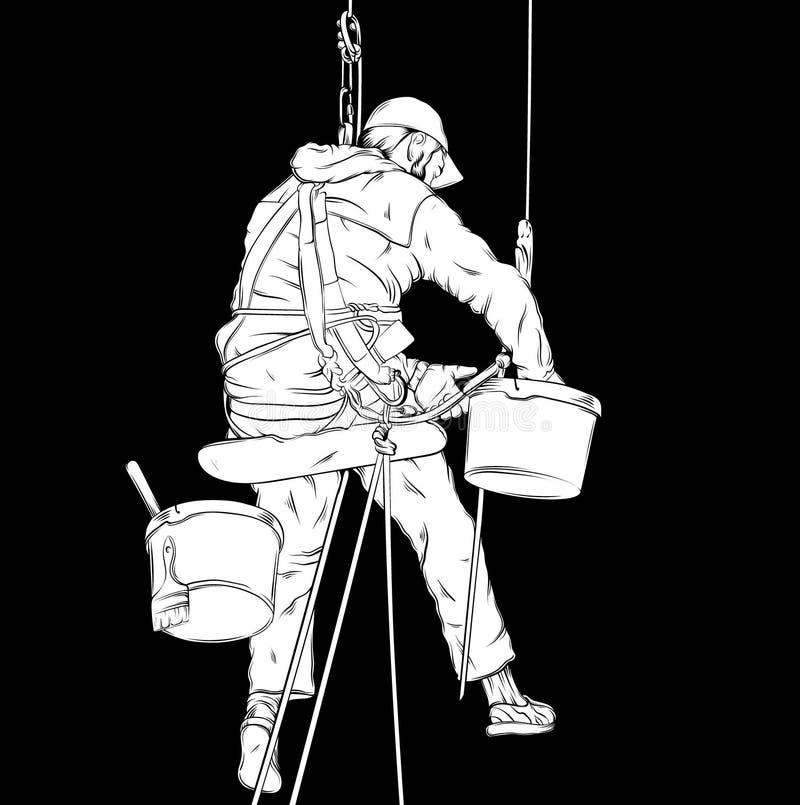 Dirigez l'illustration réaliste du décorateur dans le processus fonctionnant illustration de vecteur