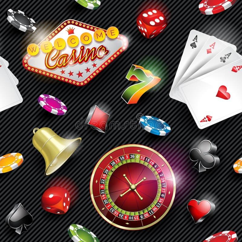 Dirigez l'illustration sans couture de modèle de casino avec les éléments de jeu sur le fond rayé foncé illustration libre de droits