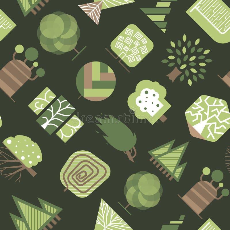 Dirigez l'illustration sans couture graphique de fond de modèle d'arbre d'eco en bois géométrique de forêt illustration libre de droits
