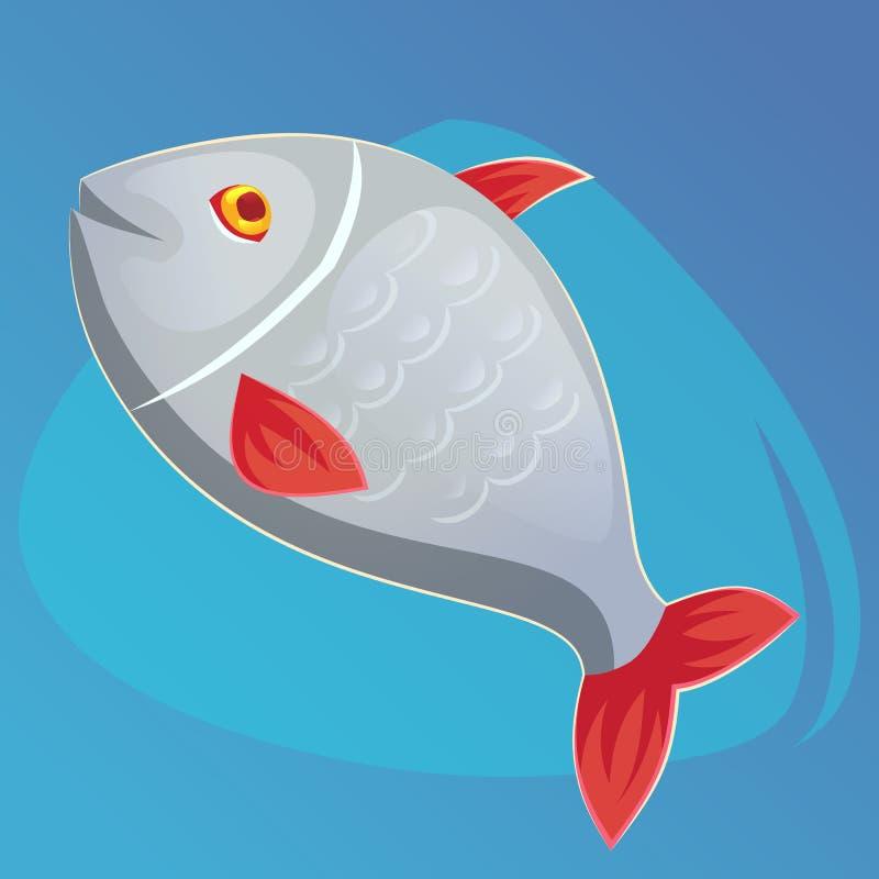 Dirigez l'illustration saumonée de vecteur de poissons dans le style de bande dessinée Conception de produits de fruits de mer Ic illustration stock