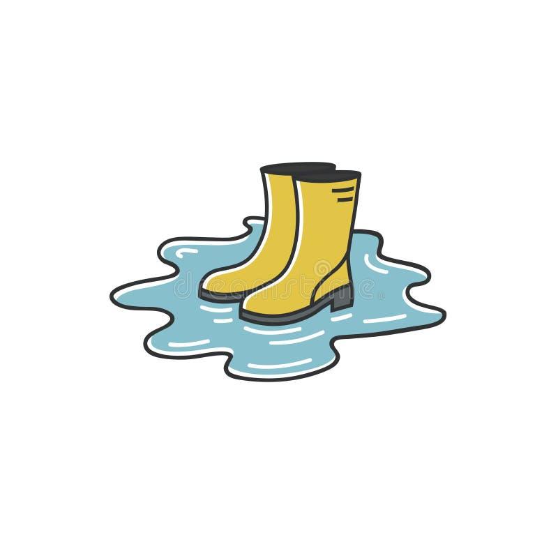 Dirigez l'illustration simple du symbole d'automne ou de printemps - bottes en caoutchouc se tenant dans le magma illustration libre de droits