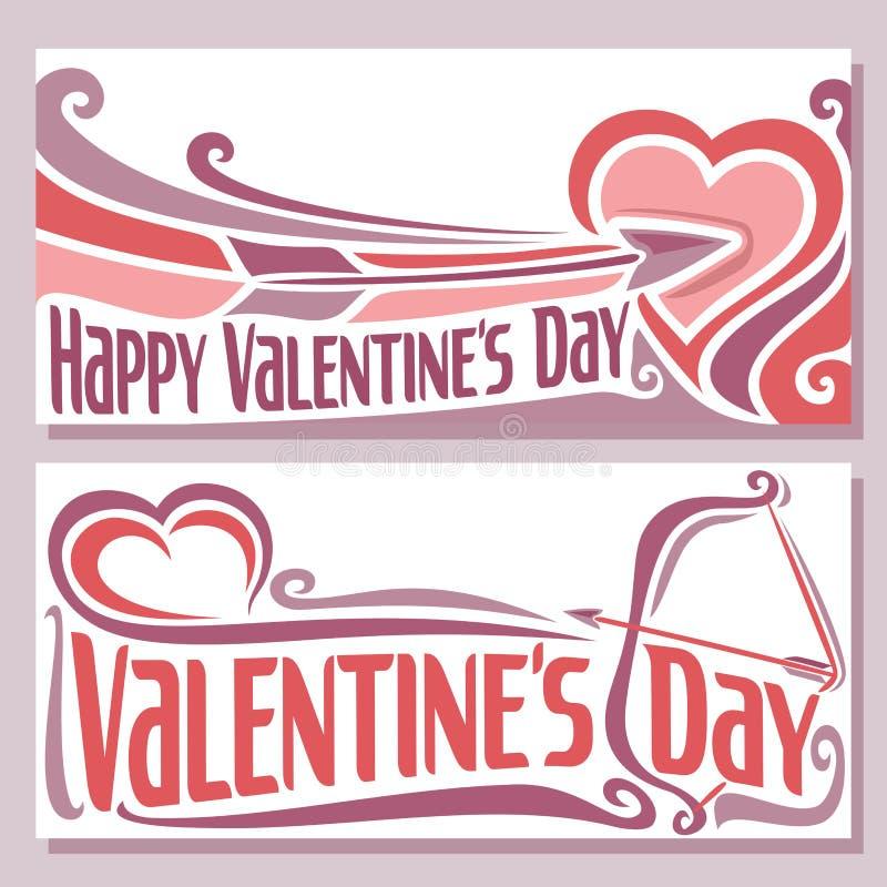 Dirigez l'illustration sur le thème des cartes pour la Saint-Valentin illustration de vecteur