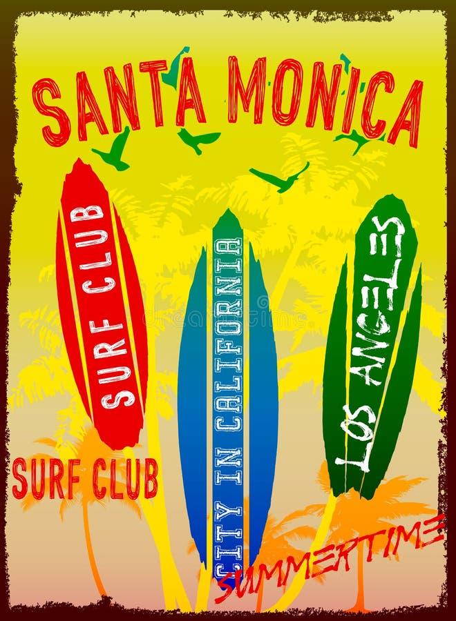 Dirigez l'illustration sur le thème du ressac et du club Santa Monica de ressac illustration libre de droits