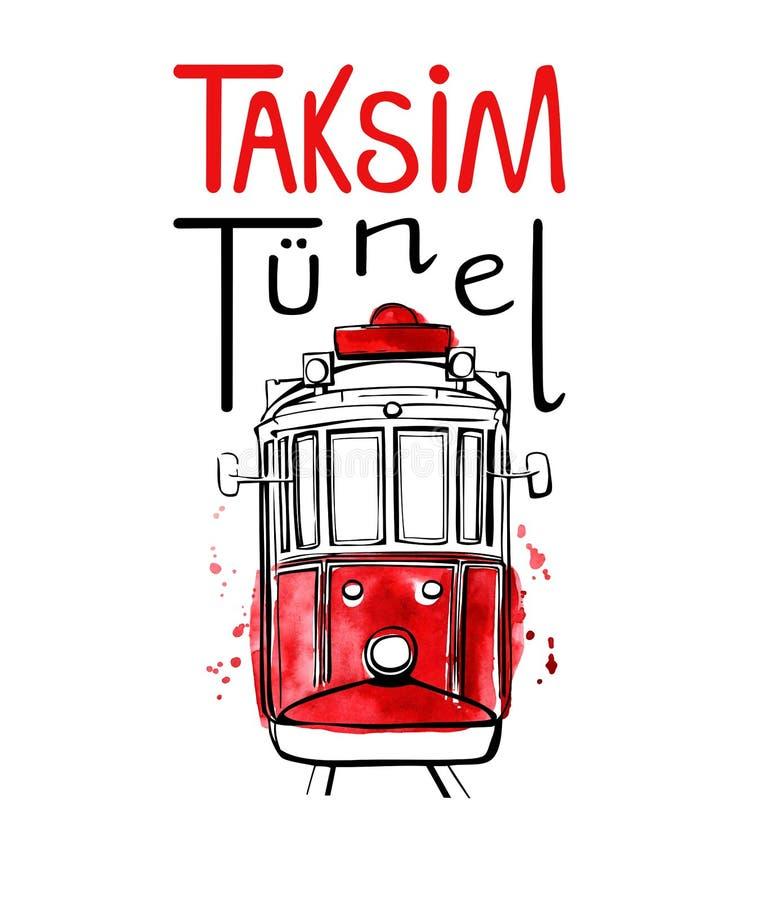 Dirigez l'illustration tirée par la main d'aquarelle avec le tram turc célèbre illustration libre de droits