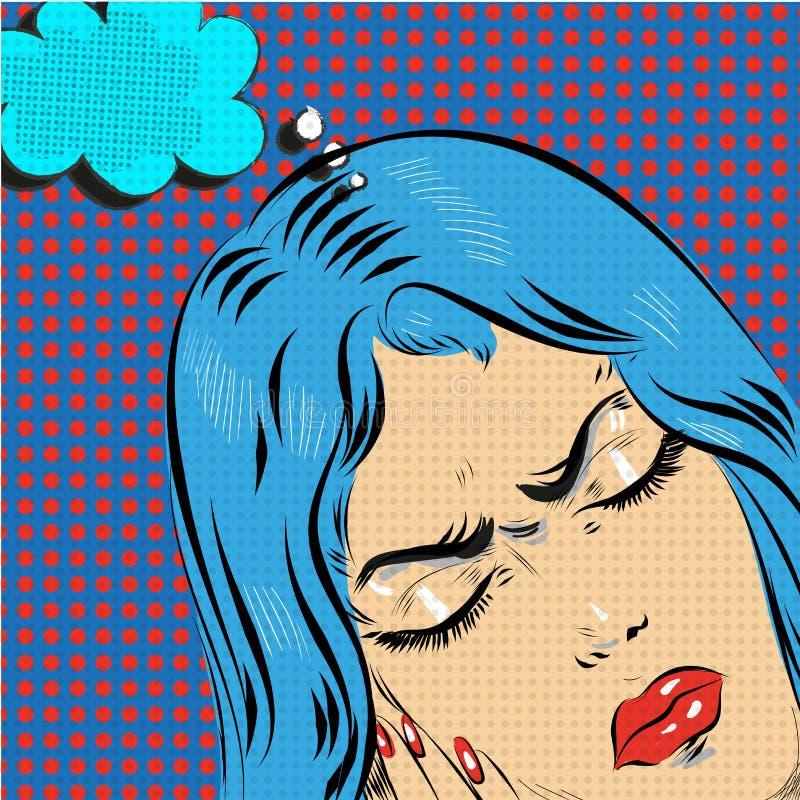 Dirigez l'illustration tirée par la main d'art de bruit de la jeune femme comique illustration libre de droits