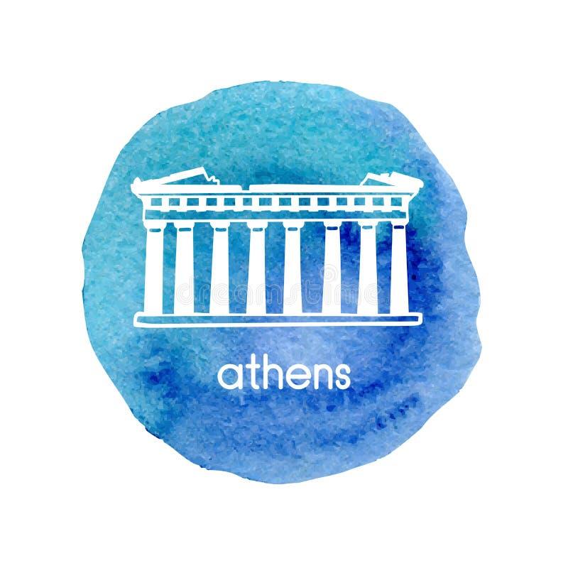 Dirigez l'illustration tirée par la main d'icône d'aquarelle avec le parthenon à Athènes, Grèce illustration stock