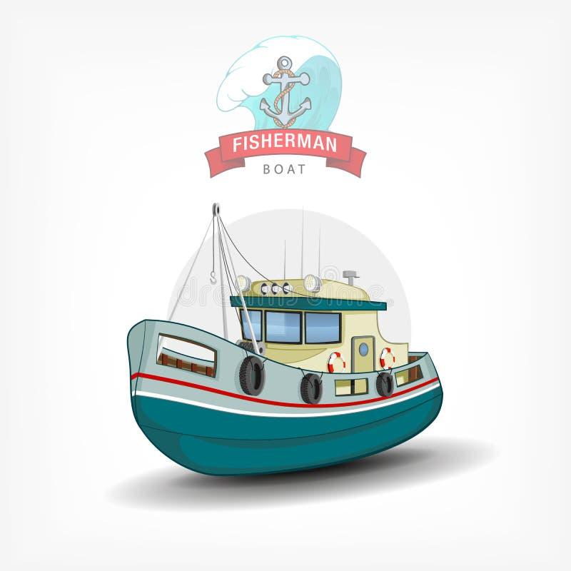 Dirigez l'illustration tirée par la main de couleur d'un bateau de pêche Vue de côté illustration libre de droits