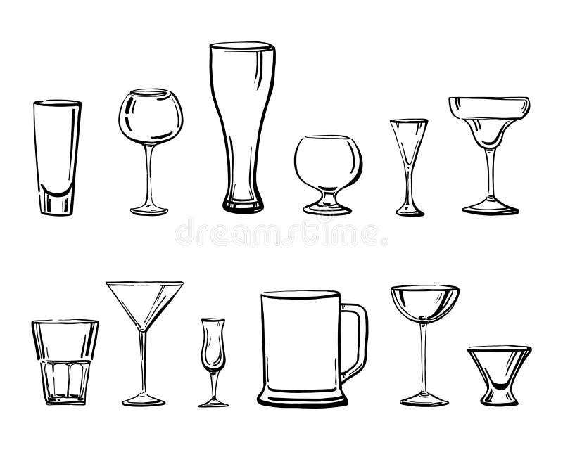 Dirigez l'illustration tirée par la main de croquis d'ensemble avec différents types de verres à boire illustration stock