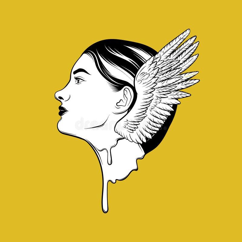 Dirigez l'illustration tirée par la main de la fille de fonte avec des ailes d'isolement illustration libre de droits