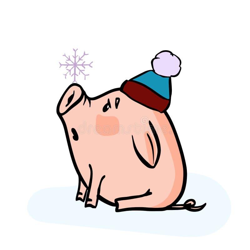 Dirigez l'illustration tirée par la main de griffonnage du porcelet d'hiver de nouvelle année avec un flocon de neige et un 2019 illustration libre de droits